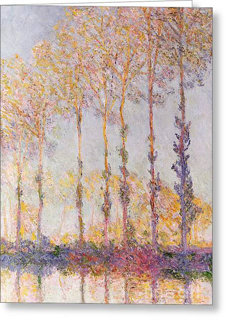 Poplars On The Banks Of The Epte Greeting Card by Claude Monet