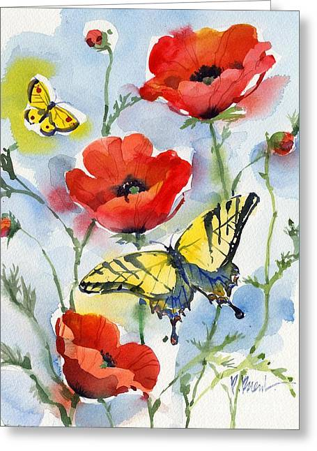 Fresh Green Paintings Greeting Cards - Poppies and Butterflies Greeting Card by Paul Brent