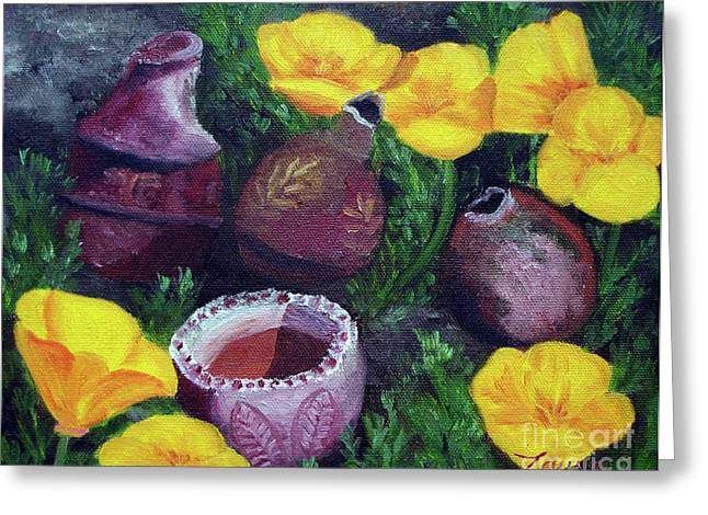 Original Pottery Greeting Cards - Poppies and Pottery Greeting Card by Laura Iverson