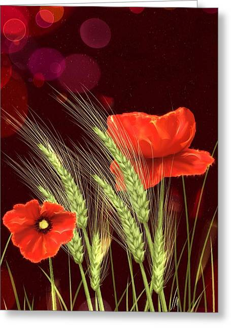 Wheat Art Greeting Cards - Poppies and wheat Greeting Card by Veronica Minozzi