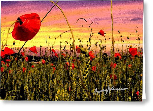 Anthony Caruso Greeting Cards - Poppies Greeting Card by Anthony Caruso