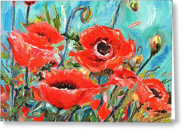 California Artist Greeting Cards - Poppies Delight Greeting Card by Jennifer Beaudet