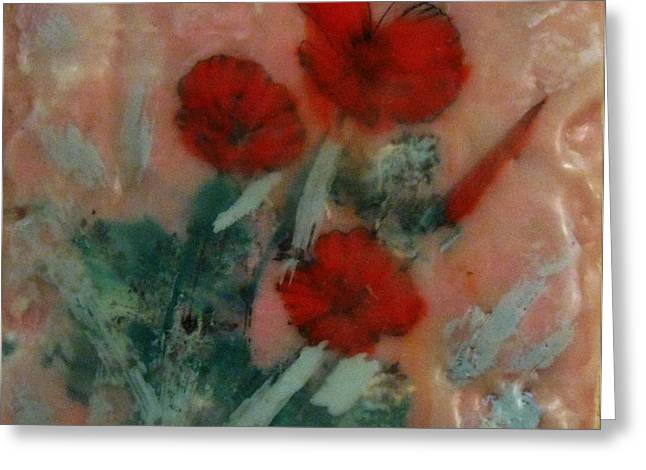 Transfer Paintings Greeting Cards - Poppies Greeting Card by Denise Funfsinn