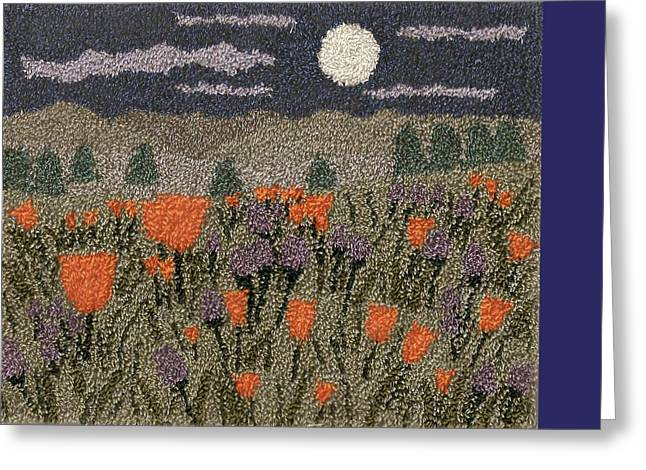 Primitive Tapestries - Textiles Greeting Cards - Poppies In The Moonlight Greeting Card by Jan Schlieper