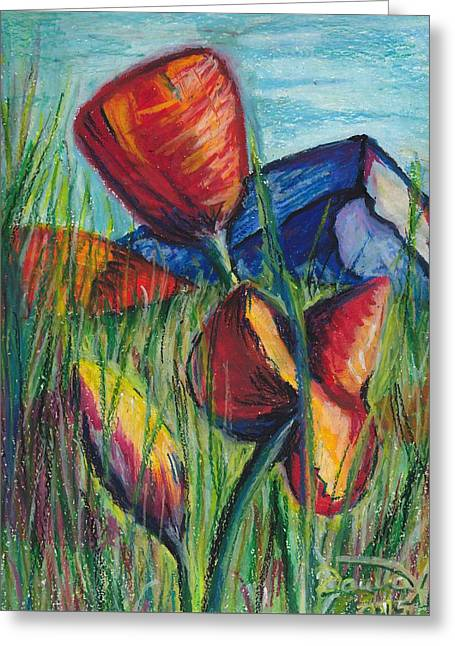 Mountain Valley Pastels Greeting Cards - Poppies in the Mountaints Greeting Card by Darya Tyshlek