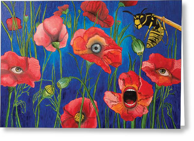 Wild Orchards Drawings Greeting Cards - Poppies Greeting Card by John Alekseev