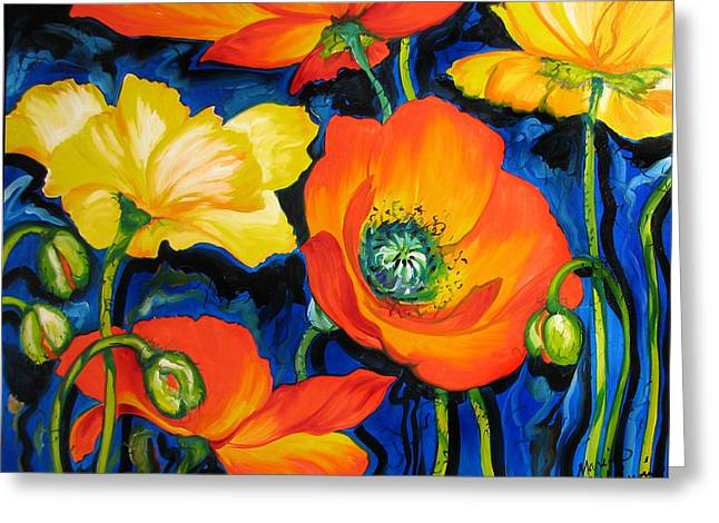 Abstract California Poppies Greeting Cards - Poppies Greeting Card by Marcia Baldwin