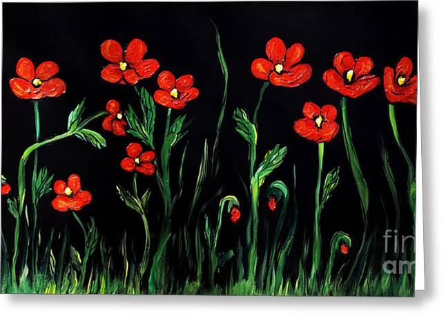 Garden Scene Mixed Media Greeting Cards - Poppies on Black Greeting Card by Janice Rae Pariza