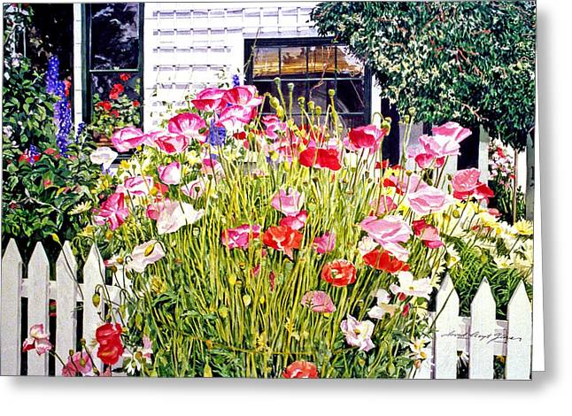 Most Greeting Cards - Poppies on Niagara Street Greeting Card by David Lloyd Glover