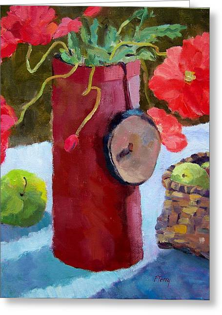 Still Life With Green Apples Greeting Cards - Poppies On The Table Greeting Card by Fay Terry