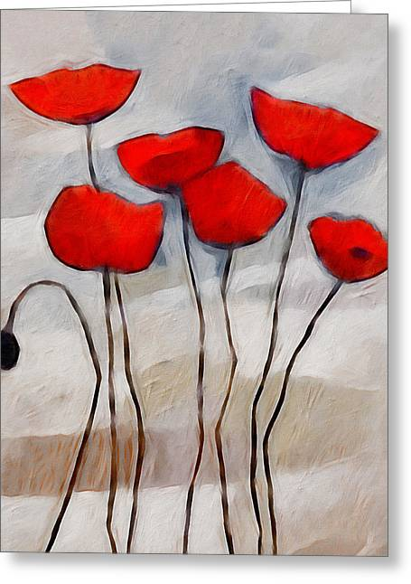 Sell Art Greeting Cards - Poppies Painting Greeting Card by Lutz Baar