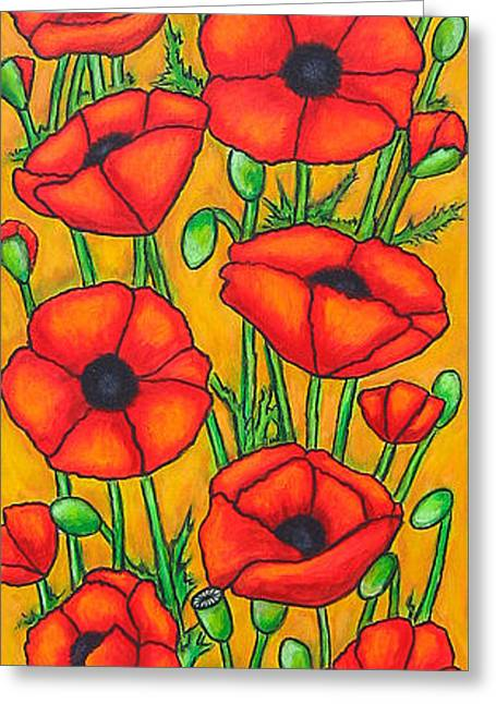 Poppies Under The Tuscan Sun Greeting Card by Lisa  Lorenz