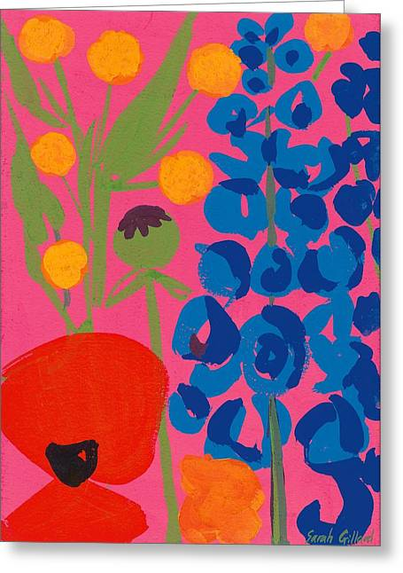 Delphinium Greeting Cards - Poppy and Delphinium Greeting Card by Sarah Gillard