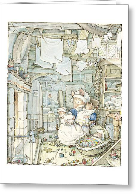 Coloured Greeting Cards - Poppy and her babies sit by the fire Greeting Card by Brambly Hedge