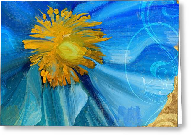 Blues And Yellows Greeting Cards - Poppy Blues I Greeting Card by Mindy Sommers