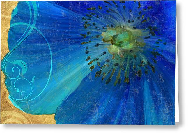 Blues And Yellows Greeting Cards - Poppy Blues II Greeting Card by Mindy Sommers