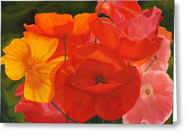 Rectangles Greeting Cards - Poppy Bouquet Greeting Card by Bev Alldridge