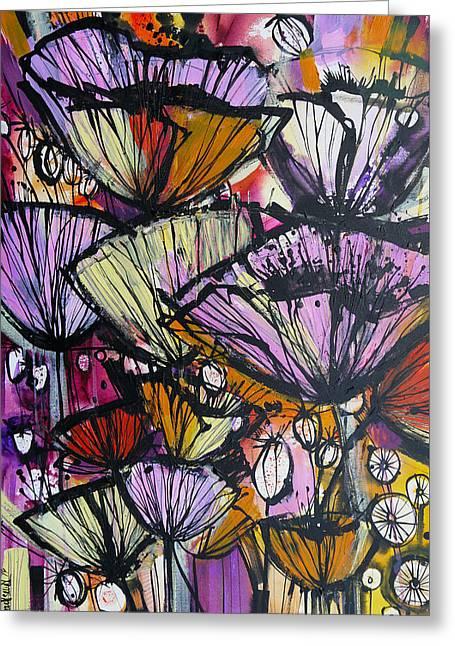 Poppy Bursts Greeting Card by Irina Rumyantseva