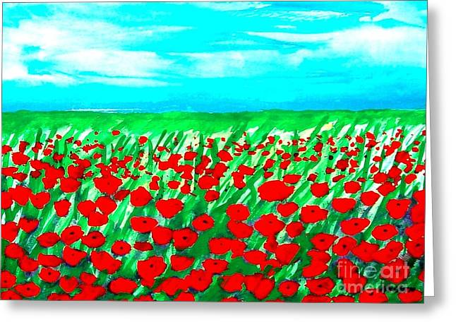 Field. Cloud Mixed Media Greeting Cards - Poppy Field Abstract Greeting Card by Marsha Heiken