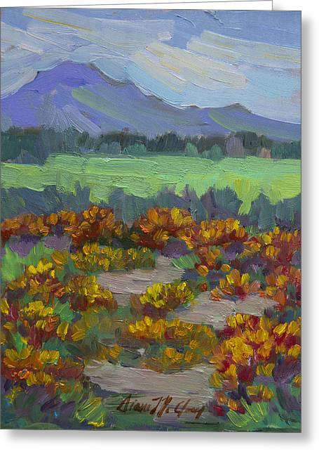 Poppy Field At Fort Apache Indian Reservation Greeting Card by Diane McClary