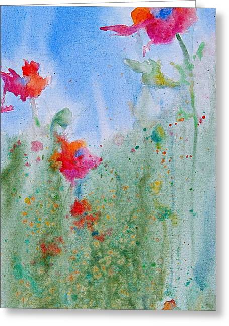 Splashy Paintings Greeting Cards - Poppy Field Flowers Greeting Card by Reveille Kennedy