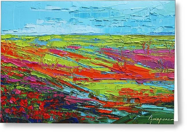 Poppy Field Modern Abstract Impressionistic Oil Painting Palette Knife Greeting Card by Patricia Awapara