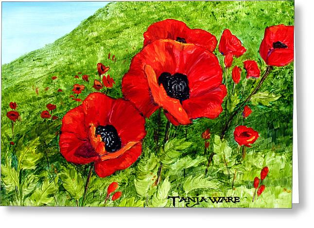 Poppy Field Greeting Card by Tanja Ware