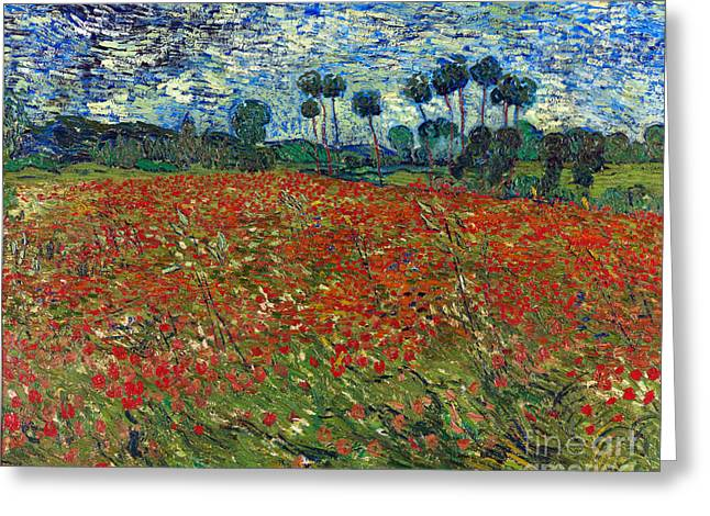 Vintage Painter Greeting Cards - Poppy Field Greeting Card by Van Gogh