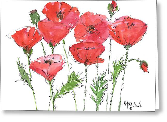 Kathleen Greeting Cards - Poppy Garden Greeting Card by Kathleen McElwaine