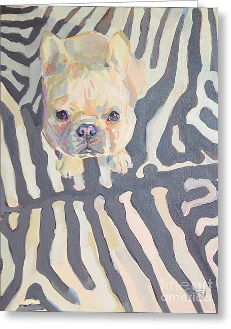 Bulldog Pet Portraits Greeting Cards - Poppy Gray Greeting Card by Kimberly Santini