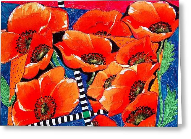 Cubist Tapestries - Textiles Greeting Cards - Poppy-licious Greeting Card by A Carole Atterbury