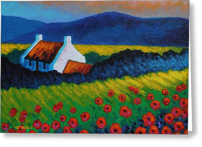 Landscape Posters Greeting Cards - Poppy Meadow Greeting Card by John  Nolan