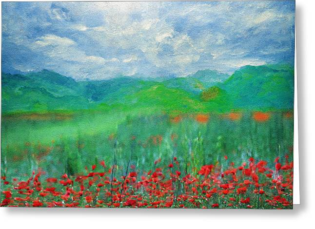 Field. Cloud Mixed Media Greeting Cards - Poppy Meadows Greeting Card by Georgiana Romanovna