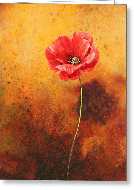 Single Flower Greeting Cards - Poppy Painting Greeting Card by John Francis