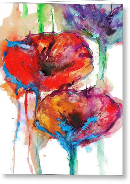Christmas Greeting Greeting Cards - Poppy Petals Greeting Card by Emma Kaufmann