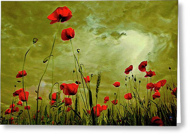 Petal Mixed Media Greeting Cards - Poppy Petals Greeting Card by  Fli Art