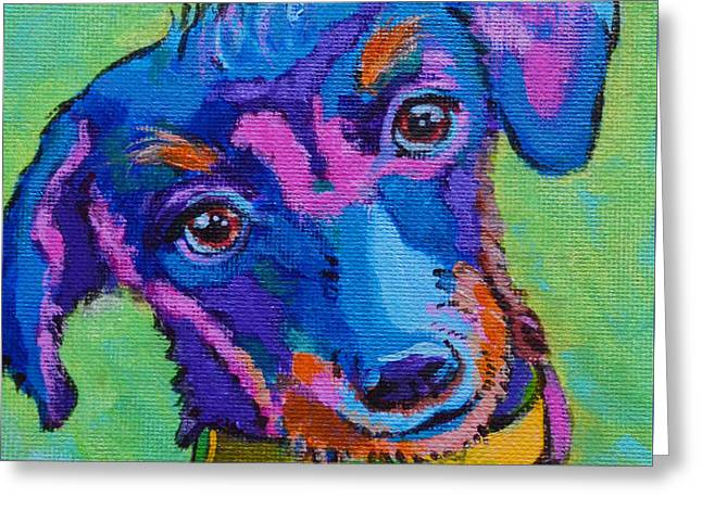 Puppies Paintings Greeting Cards - Poppy Pooch Greeting Card by Toni Wolf