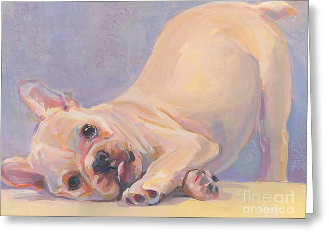 Puppies Paintings Greeting Cards - Poppy Puppy Greeting Card by Kimberly Santini