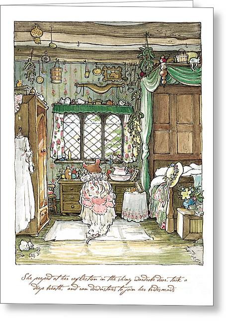 Coloured Greeting Cards - Poppy puts on her wedding dress Greeting Card by Brambly Hedge