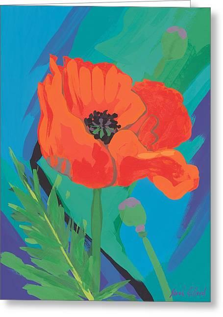 Poppy Greeting Card by Sarah Gillard