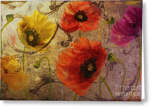 Poppies Home Decor Greeting Cards - Poppy Waltz Greeting Card by Mindy Sommers