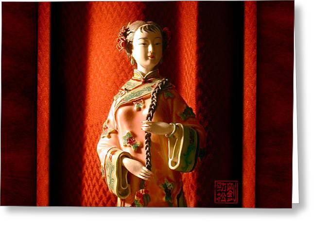 Chinese Woman Greeting Cards - Porcelain Figure Greeting Card by Geoffrey C Lewis