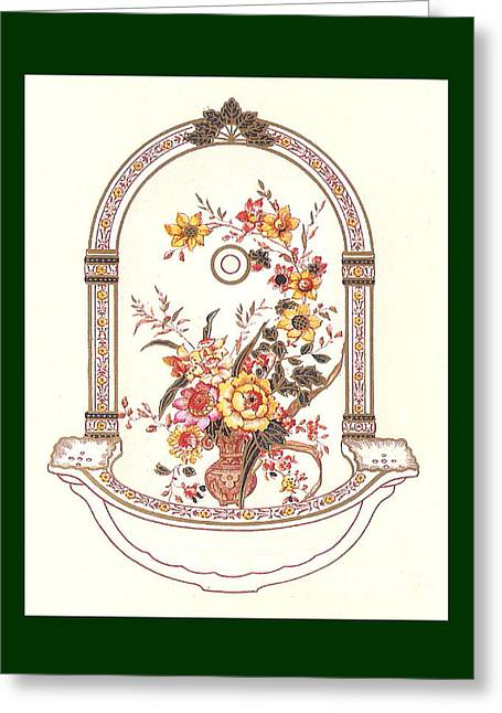 Mahogany Mixed Media Greeting Cards - Porcelain Wash Basin Two Greeting Card by Eric Kempson
