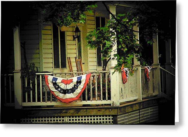 4th July Photographs Greeting Cards - Porch Flag Greeting Card by Michael L Kimble