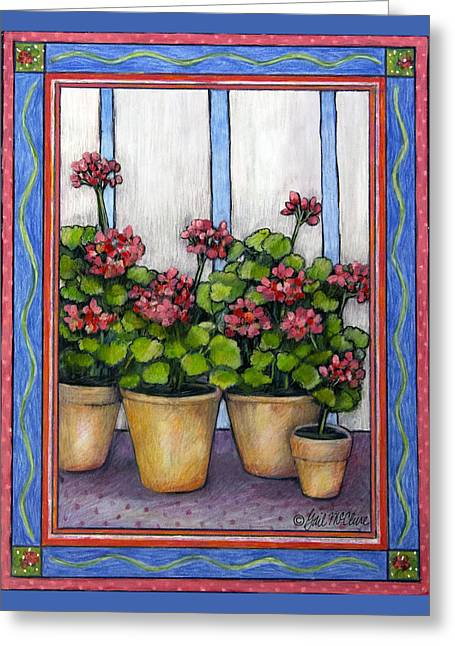 Potted Plants Drawings Greeting Cards - Porch Geraniums Greeting Card by Gail McClure