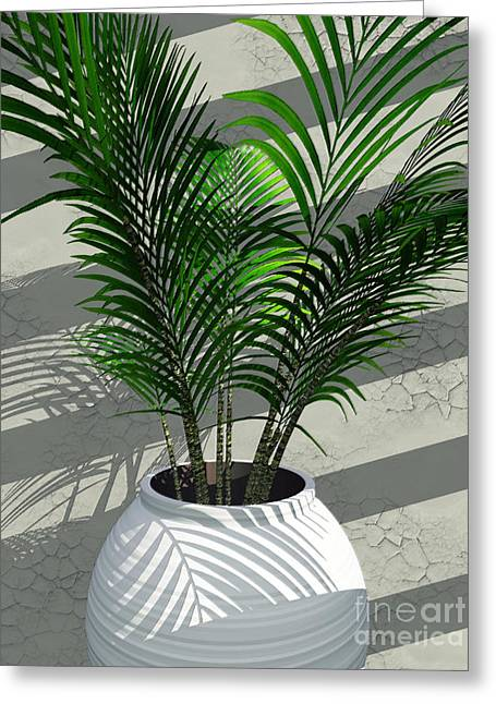 Potted Plant Digital Art Greeting Cards - Porch Plant Greeting Card by Richard Rizzo