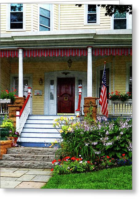 American Flags Greeting Cards - Porch With Front Yard Garden Greeting Card by Susan Savad