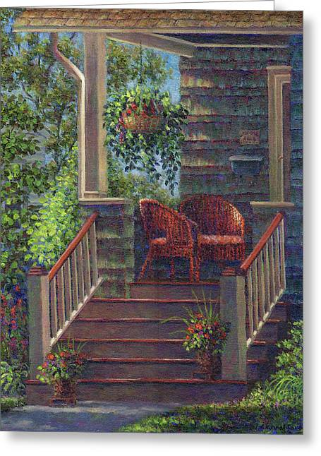 Baskets Greeting Cards - Porch with Red Wicker Chairs Greeting Card by Susan Savad