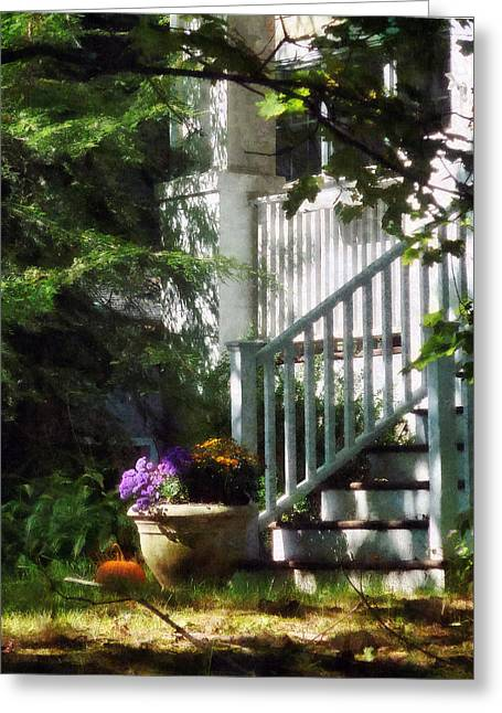 Pumpkin Greeting Cards - Porch With Urn and Pumpkin Greeting Card by Susan Savad