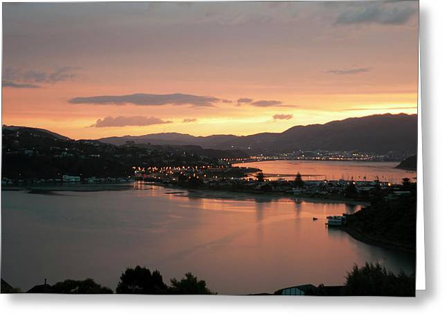 Camborne Greeting Cards - Porirua Evening Greeting Card by Peter Hill